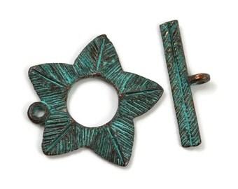 Mykonos Flower Toggle Clasp - Green Patina