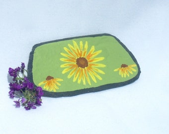 Yellow Flower Magnet - Hand Painted Flower - Slate Magnets - Decorative Slate - Fridge Art - Office Magnet - Garden Magnet
