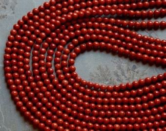 4.5mm Redstone Round Polished Gemstone Beads, 15 Inch Strand (N2-IND1C380)