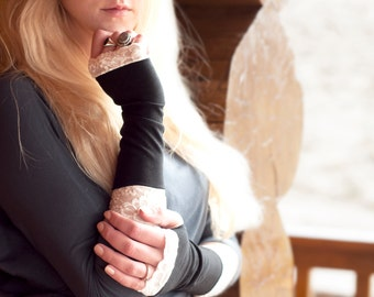 Black Fingerless Gloves, Long Lace Arm Warmers, Womens Gift for Her, Wrist Warmers, Jersey Cotton Gloves, Womens Tattoo Cover Up, Covers