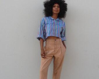 Vintage high waist trousers 90s Cherokee pants tapered leg khaki pants