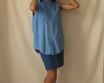 Denim sleeveless shirt Vintage denim shirt Blue jean shirt Button up tank top