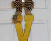 "Rustic distressed wood door letter, wreath. 13"" yellow crackle distressed with burlap flowers."