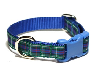 "Rose Tartan Dog Collar - 3/4"" (19mm) Wide - Blue and Green Plaid - Scottish Tartan - Martingale or Side Release - Choice of style and size"