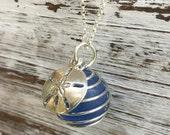 cobablt blue atlantic sea glass marble necklace, sand dollar seaglass necklace, silver seaglass blue marble necklace, seaglass marble