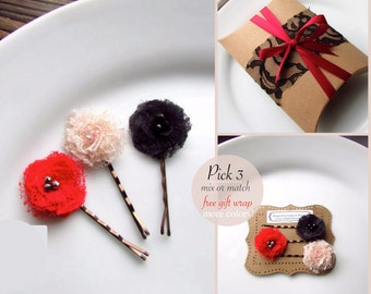 PICK 3 MORE COLORS Christmas Hair Clip Stocking Stuffers for Women, Red and Black Hair Pins, Small Holiday Gift for Her, Hairpin, Girl Bobby