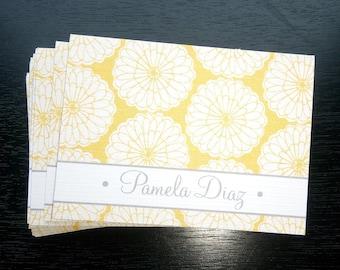 Personalized Yellow Background Stationery Set, Personalized Note cards, Set of 12 folded note cards and envelopes.