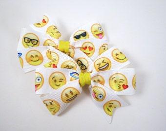 Emoji Hair Bows - School Hair Bows - Happy Face Bows - Pinwheel Hair Bow - Pin Hair Clip - Green Hair Clip - Kids Girls Hair Accessories