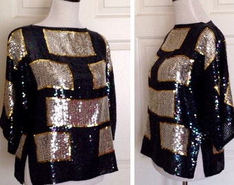 JACK BRYAN Vintage 1980's Blouse Iridescent Black, Gold and Silver Sequin Top Women's Size 8