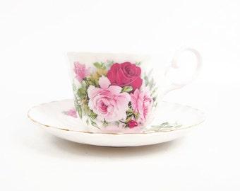 Vintage Royal Stuart Teacup Saucer England Hand Painted Roses Int Peace Garden Canada USA Fine Bone China