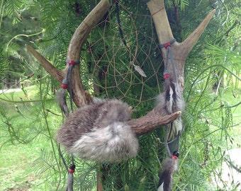 Deer antler dream catcher rabbit fur rooster feathers