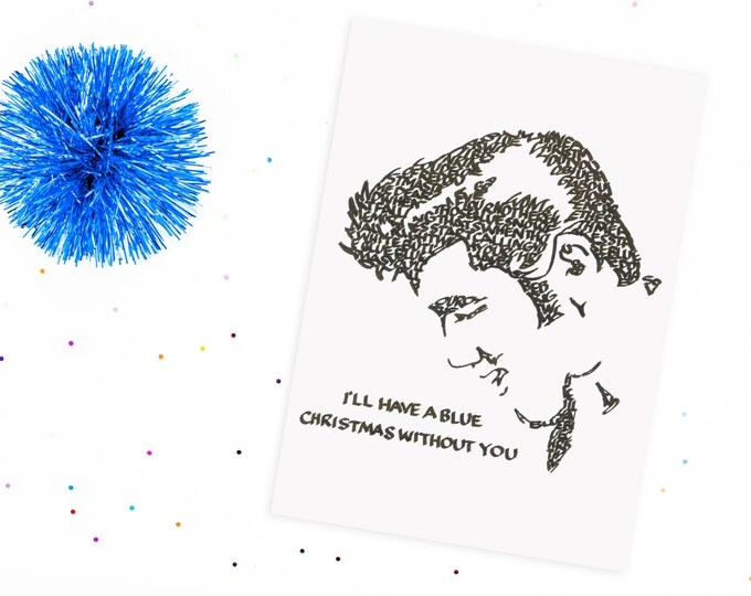 Blue Christmas with Elvis, A Limited Edition Print of a Hand-lettered Image Using the Song
