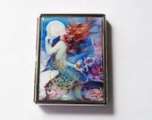Mermaid Cigarette Case, Slim Cigarette Case, Mermaid with pearl, Cigarette Holder, Cigarette box, mermaid fantasy, blue (6056S)