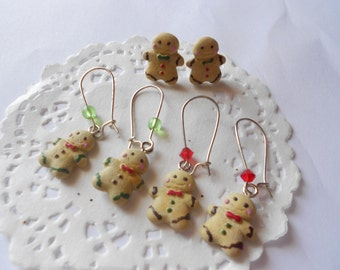 Little Tiny Gingerbread men dangle earrings - handmade polymer clay miniature wearable food jewely
