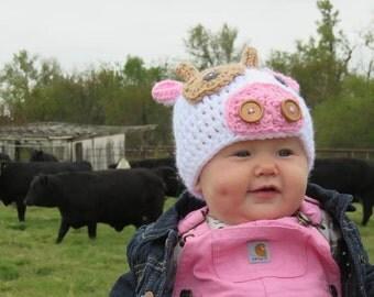 Crochet baby Hat Cow Farm Animal photo  prop newborn baby boy infant hats