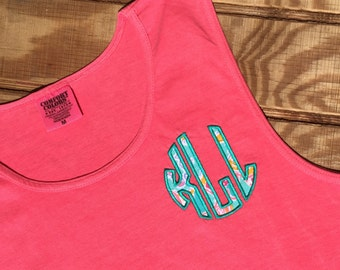 Lilly Monogram Comfort Colors Tank -Lilly Fabric Classic Circle Monogram Tank -  Lilly Monogrammed Tank - Lilly  Monogram Tank Top