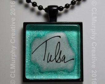 Tulsa Oklahoma Custom Pendant Necklace Jewelry Original Script Pendant Black Silver C L Murphy Creative