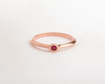 Dainty Ring, Rose Gold Ruby Ring, Red Ruby Engagement Ring, Dainty Ring, Tiny Ruby Ring Minimal Ring 14k 18k Rose Gold Simple