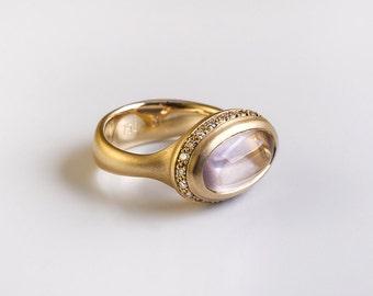 Oval Rose-Quartz ring & Champagne diamonds, 18k yellow gold ring, women's unique ring, statement Rose quartz Oval cabochon, 18k promise ring