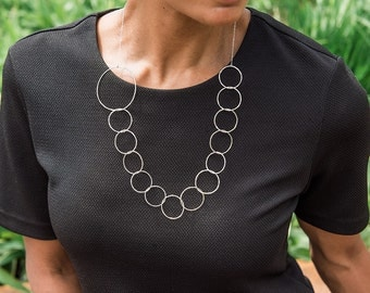 Long asymmetrical sterling silver hammered chain necklace, Statement necklace silver, Silver necklace chain, Long silver necklace
