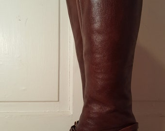 BROWN LEATHER BOOTS // 70's Made in Brazil Cognac Brown Leather Riding Equestrian Knee High Harness Buckle Cowboy Boots Size 5.5 Stacked