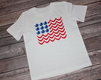 Whale Flag Shirt, Anchor Top, Whale Onesie, USA Shirt, Nautical Flag, America, Patriotic Onesie, Beach Flag, Flag Shirt, Whale and Waves Top
