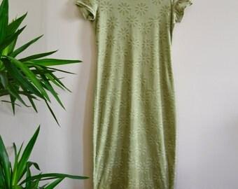 90s Velvet Burnout Maxi Dress / Sea Foam Green Clueless Dress