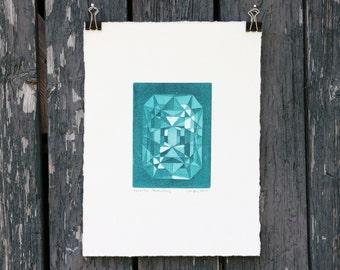 Gemstone art print - gem art - jewelry - gem - turquoise - gemstone - aquatint - contemporary art - fine art - Emerald / Be3Al2(SiO3)6