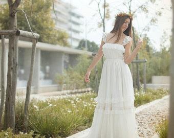 Wedding Dress, Bohemian Wedding Gown, Boho Bridal Gown, Unique Ivory Wedding Dress,Romantic Lace Wedding Dress Handmade by SuzannaM Designs