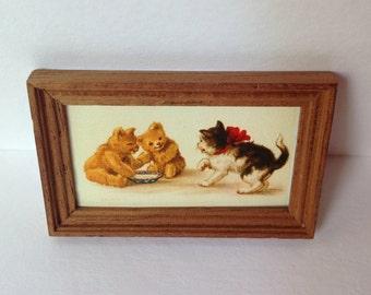 Dollshouse framed nursery print,  bears and a cat