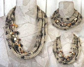 Summer Linen Necklace scarf , Boho natural infinity scarf , loop knit scarf , Hand Knitted wrap , Bohemian clothing , Gypsy women shawl
