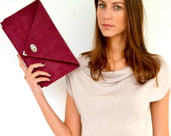 Red wine suede leather clutch