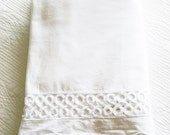 Vintage Romantic Home Snow White Cutwork Bordered Bed Skirt, Olives and Doves