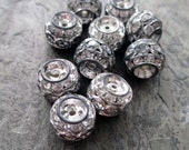 10 mm x 9 mm rhinestone beads barrel rondelle style oxidized silver clear triple stacked vintage style, lot of 5 pcs