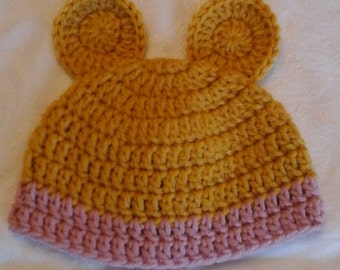 Vintage Teddy Bear Inspired Hat, Newborn Photo Prop, Baby Gift, Winnie the Pooh Beanie for Infant, Baby Girl, Pink, Rose Quartz