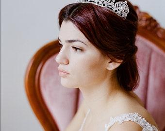 Bridal Tiara Crystal Pearl Tiara - PRISCILLA, Swarovski Bridal Tiara, Crystal Wedding Crown, Rhinestone Tiara, Wedding Tiara, Diamante Crown