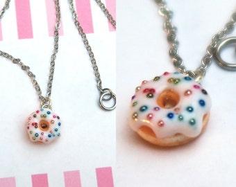 Glazed Donut Necklace With Sprinkles - Donut Necklace, Food jewelry, Food Necklace, Donut Jewelry, Cute Necklace