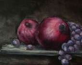 Still Life Painting - Pomegranates and Grapes, Oil Pastel Painting - Original Art - Kitchen Decor - Drawing - Kitchen Painting - Small Art