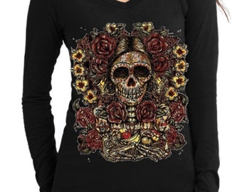 Day of the Dead Skull with Colorful Flowers Long Sleeve V-Neck S M L XL plus size 1x 2x 3x 4x 5x