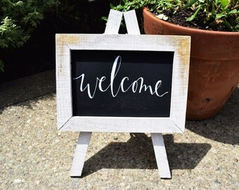 Welcome Portable Sign White/Gold