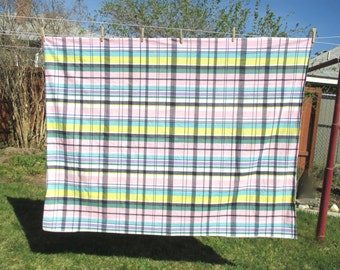 "1950's TABLECLOTH by SIMTEX Pavilion PLAID 52""X68""  Russel Wright American Modern"