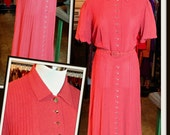 Vintage Rust Orange Persimmon Knit Dress FREE SHIPPING