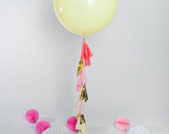 Jumbo Ivory Balloon with Tassels