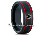 Black Diamond Red Tungsten Wedding Band,Black Tungsten Wedding Ring,Anniversary Ring,Engagement Band,Black With Red Tungsten Ring,8mm Ring