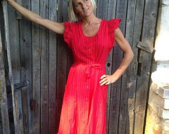 MARIMEKKO dress Long striped sundress Bright orange pink dress Button up dress Mari-essu Pinafore summer dress Scandinavian Finnish dress
