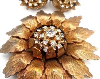 Rhinestone Flower Brooch & Earrings Set, Antique Gold Tone, Vintage