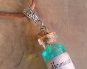 Mermaid Tears Bottle Necklace - Potion Necklace, potion bottle, glass vial pendant, mermaid necklace, cosplay, mermaid life, tiny bottle