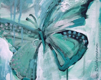 butterfly painting print - mint green Giclee' - FREE US SHIPPING