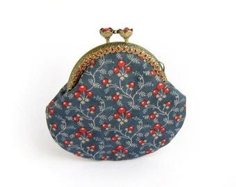 Navy blue coin purse, Red berries purse, Floral purse with red berries, Red berry pouch, Navy blue purse, Kisslock frame purse