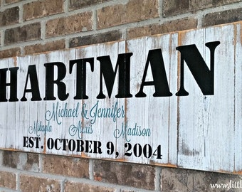 family name established sign personalized rustic sign wooden name sign outdoor decor - Custom Signs For Home Decor